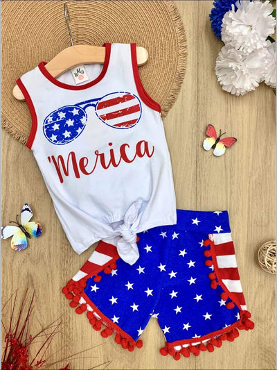 Girls 4th of July Themed Merica Knot Tank & American Flag Pom Pom Shorts Set - Blue / XS-2T - Girls 4th of July Set