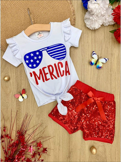 Girls 4th of July Themed Merica Ruffled Knot Top & Sequin Bow Shorts Set - White / XS-2T - Girls 4th of July Set