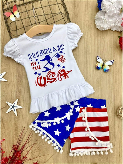 Girls 4th of July Themed Mermaid in the USA Ruffled Top & American Flag Print Pom Pom Shorts Set - Blue / XS-2T - Girls 4th of July Set