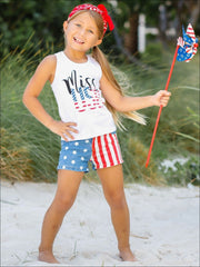 Girls 4th of July Themed Miss USA Tank & American Flag Denim Shorts - Girls 4th of July Set