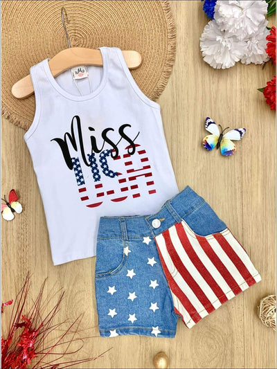 Girls 4th of July Themed Miss USA Tank & American Flag Denim Shorts - White / S-3T - Girls 4th of July Set