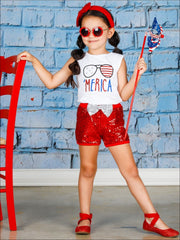 Girls 4th of July Themed Printed Top & Sequin Bow Shorts Set - Girls 4th of July Set