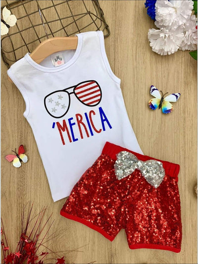Girls 4th of July Themed Printed Top & Sequin Bow Shorts Set - Red / XS-2T - Girls 4th of July Set