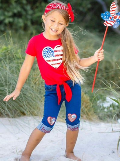 Girls 4th of July Themed Sequin Heart Applique Knot Top & Cuffed Freedom Jeans Set - Girls 4th of July Set