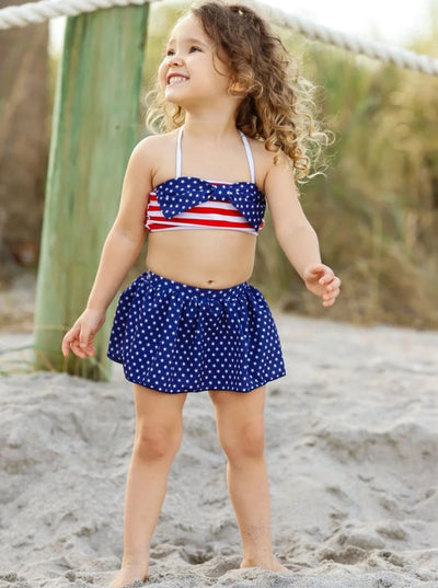 Girls 4th of July Themed Skirted One Piece & Two Piece Swimsuit with Matching Headband (2 styles) - Girls Swimsuit