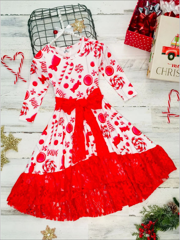 Girls A-Line Long Sleeve Lace Ruffled Hem and Sash Twirl Dress - Girls Christmas Dress