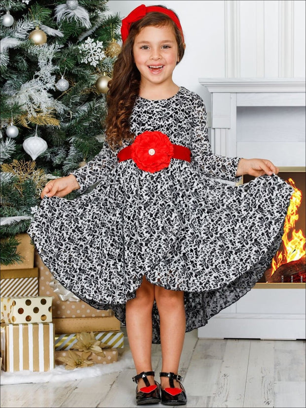 Girls A-Line Long Sleeve Lace Twirl Dress with Satin Flower Sash - Girls Fall Dressy Dress