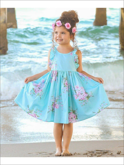 Girls A-Line Mint Sleeveless Ruffled Floral Print Dress - Girls Spring Dressy Dress