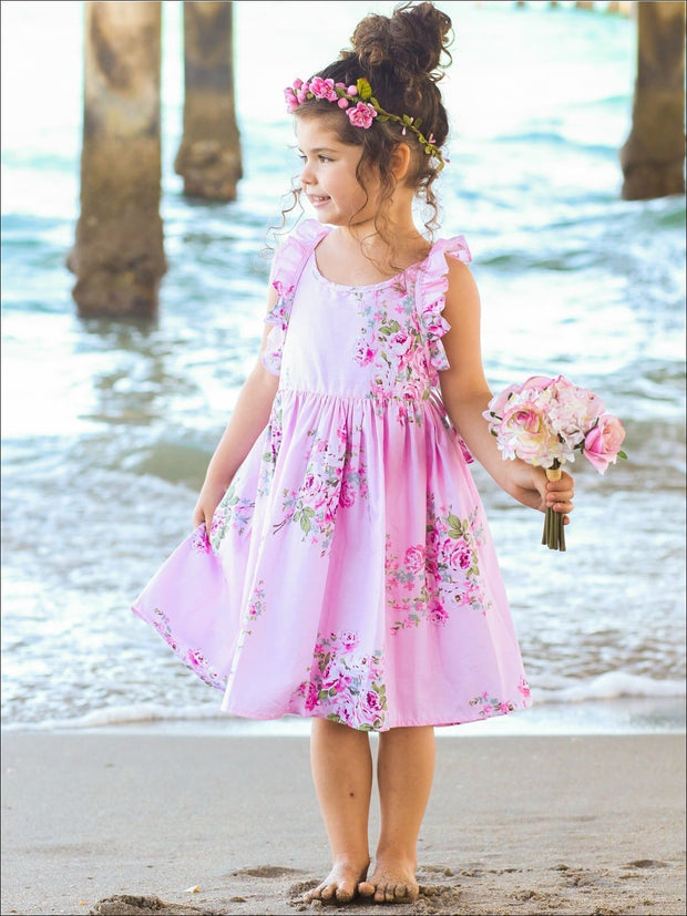 Girls A-Line Pink Sleeveless Ruffled Floral Print Dress - Girls Spring Casual Dress