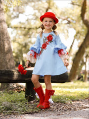 Girls A-Line Ruffled Long Sleeve Dress with Rose Embroidery - Girls Fall Casual Dress