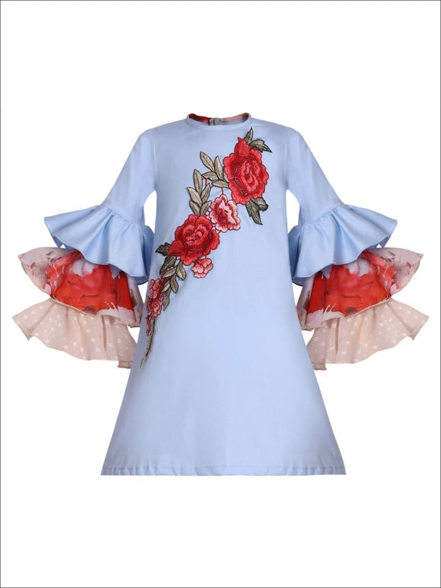 Girls A-Line Ruffled Long Sleeve Dress with Rose Embroidery - Blue / 2T/3T - Girls Fall Casual Dress