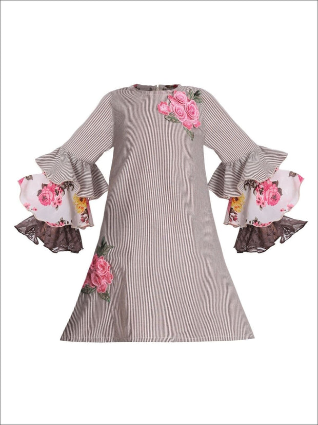 Girls A-Line Ruffled Long Sleeve Dress with Rose Embroidery - Brown / 2T/3T - Girls Fall Casual Dress