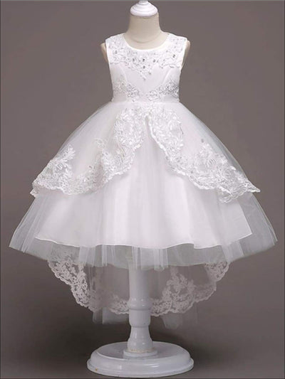 Girls A-Line Sleeveless Pearls Floral Embroidered Communion & Flower Girl Party Dress - Girls Gown
