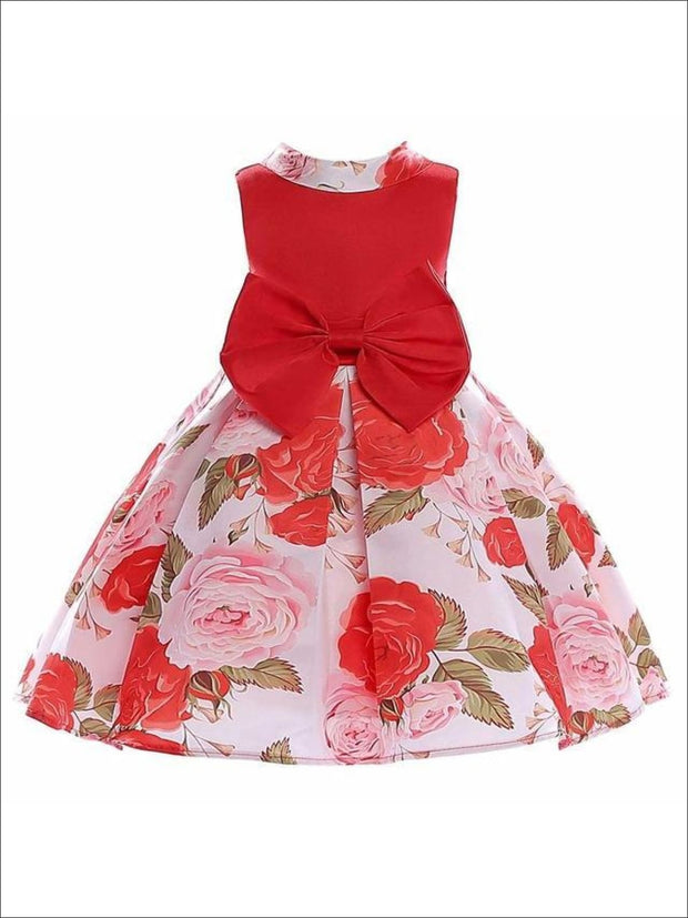 Girls A-Line Sleeveless Rose Print Bow Special Occasion Party Dress - Girls Spring Dressy Dress