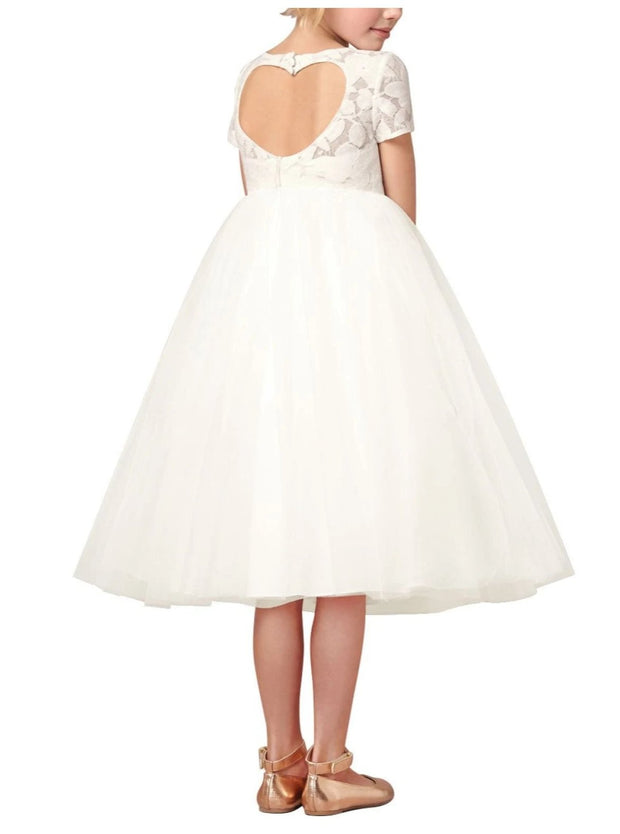 Girls A-Line White Leaves Embroidery Lace Open Heart Back Communion & Flower Girl Party Dress - Girls Gown