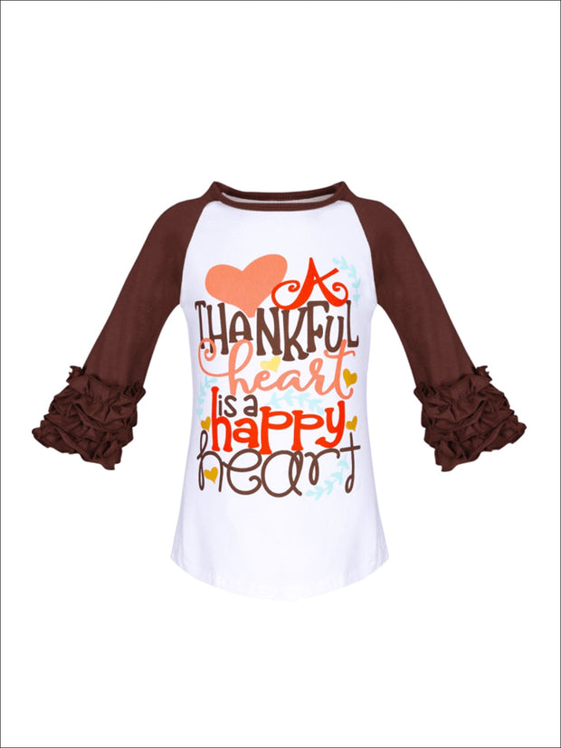 Girls A Thankful Heart is a Happy Heart Graphic Raglan Top with 3/4 Ruffled Sleeves - White / S-3T - Girls Fall Top
