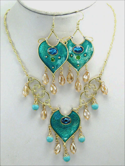Girls Aladdin Inspired Princess Jasmine Turquoise Necklace & Earrings Set - Turquoise - Girls Accessories