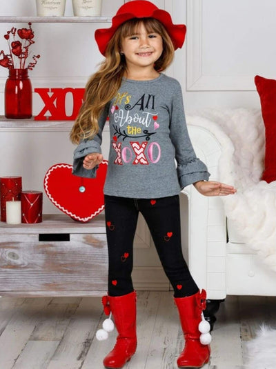 Girls All About the XOXO Ruffled Top & Heart Patch Jeans - Girls Fall Casual Set