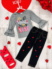 Girls All About the XOXO Ruffled Top & Heart Patch Jeans - Grey / 2T - Girls Fall Casual Set
