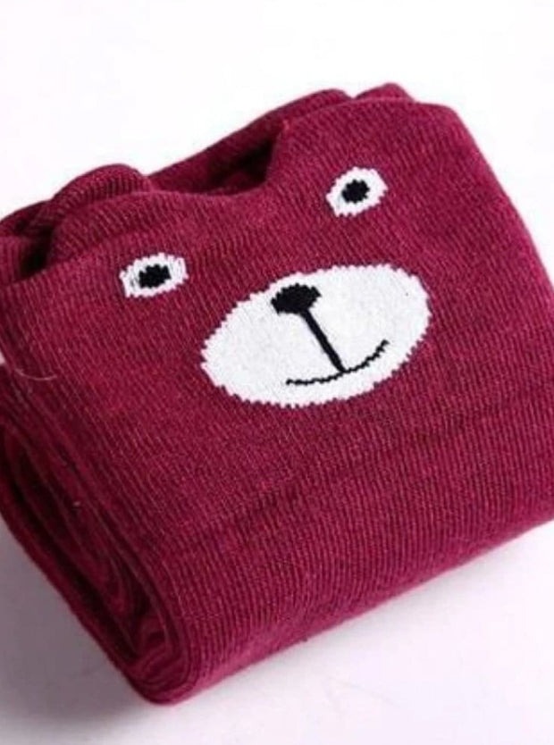 Girls Animal Knee Socks - Burgundy / 3-7 Years - Girls Accessories