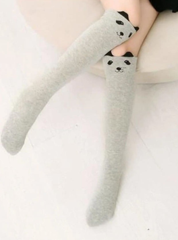 Girls Animal Knee Socks - Grey Cat / 3-7 Years - Girls Accessories