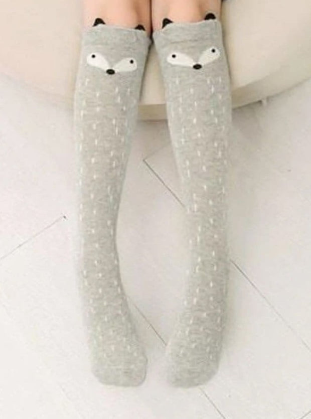 Girls Animal Knee Socks - Grey Fox / 3-7 Years - Girls Accessories