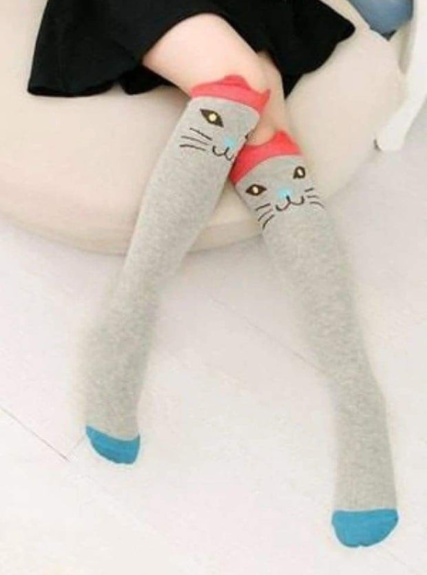 Girls Animal Knee Socks - Grey Orange Cat / 3-7 Years - Girls Accessories