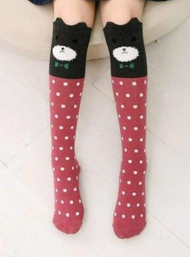 Girls Animal Knee Socks - Red / 3-7 Years - Girls Accessories