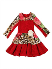 Girls Animal Print Blocked Pleated Skater Dress - Fall Low Stock