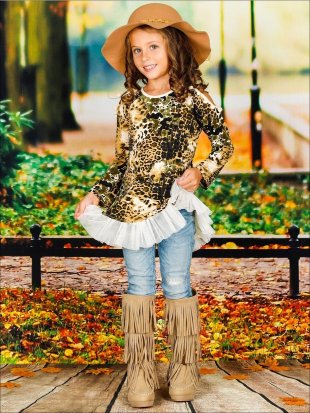 Girls Animal Print & Creme Raglan Sleeve Cold Shoulder Ruffled Top - Girls Fall Top