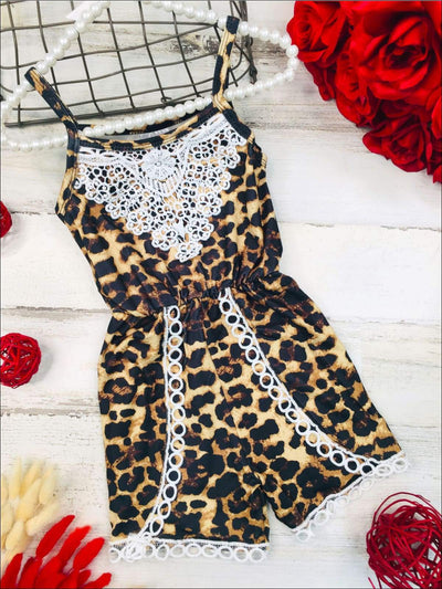 Girls Animal Print Crochet Trim Jumper - Girls Jumpsuit