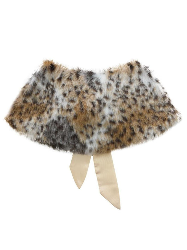 Girls Animal Print Faux Fur Princess Cloak/Bolero - Girls Halloween Costume