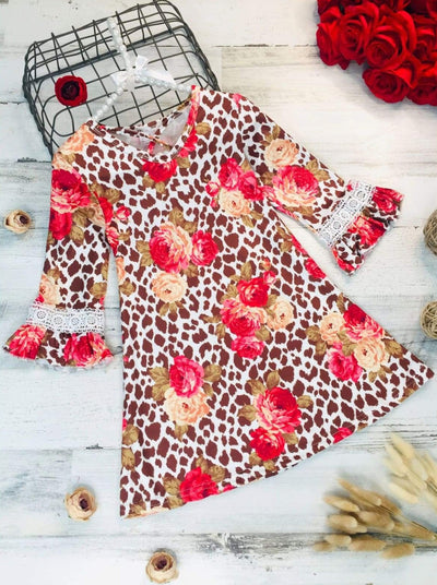 Girls Animal Print Floral Crochet Ruffled Long Sleeve Dress - Girls Fall Casual Dress