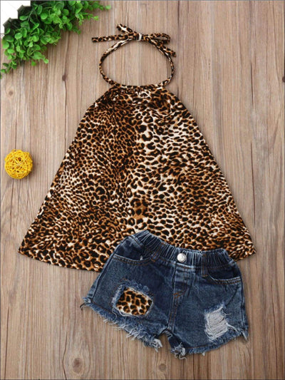 Girls Animal Print Halter Tunic & Matching Denim Shorts with Patch Set - 2T / Multi Color - Girls Spring Casual Set