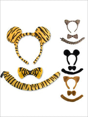 Girls Animal Print Headband with Matching Tail & Bow Tie - Girls Halloween Costume