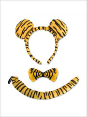 Girls Animal Print Headband with Matching Tail & Bow Tie - Gold - Girls Halloween Costume