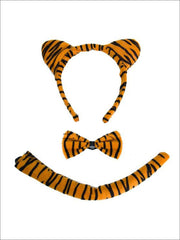 Girls Animal Print Headband with Matching Tail & Bow Tie - Orange - Girls Halloween Costume