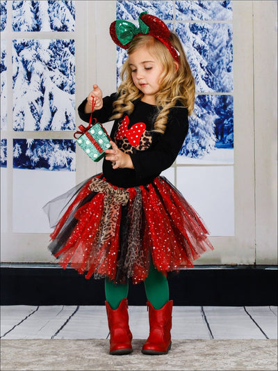 Girls Animal Print Mouse Long Sleeve Top & Matching Sequin Tutu Skirt Set - Girls Fall Casual Set