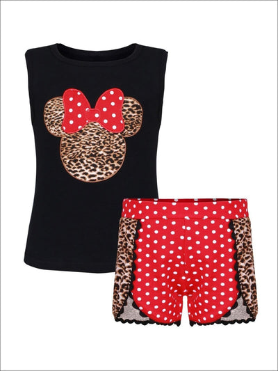 Girls Animal Print & Red Polka Dot Mouse Sleeveless Top & Matching Shorts Set - Girls Spring Casual Set