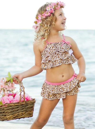 Girls Animal Print Tiered Ruffled Tank and Skirt Bikini With Pink Trim - Girls Two Piece Swimsuit