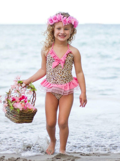 Girls Animal Print Tutu One Piece Swimsuit - Girls One Piece Swimsuit