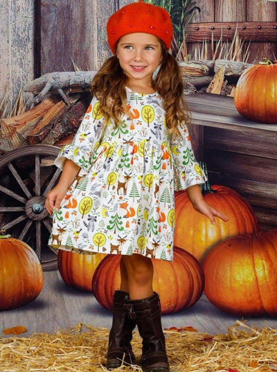 Girls Animal & Trees Print Long Ruffled Sleeve Dress - Girls Fall Casual Dress