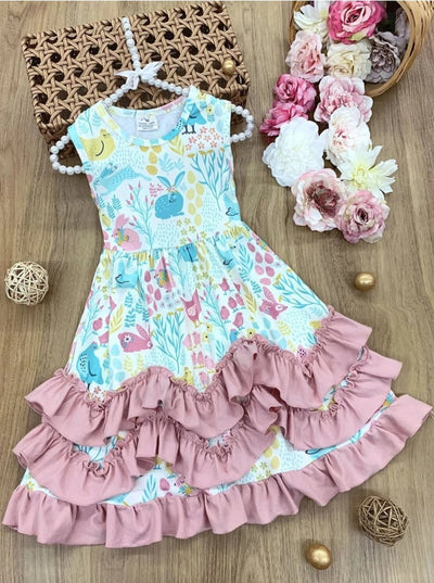 Girls Animals and Floral Print Ruffled Midi Dress - Dusty Pink / 2T - Girls Spring Casual Dress