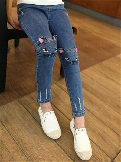 Girls Ankle Length Denim Kitty Cat Jeans - Girls Jeans