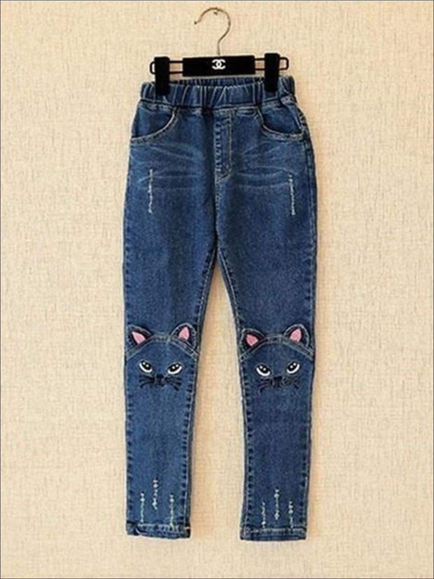 Girls Ankle Length Denim Kitty Cat Jeans - Dark Wash / 3T - Girls Jeans