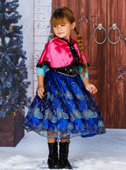Girls Anna from Frozen Inspired Costume Dress - Girls Halloween Costume