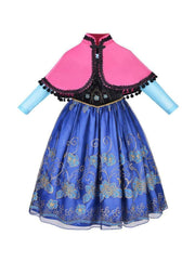 Girls Anna from Frozen Inspired Costume Dress - blue / 3T - Girls Halloween Costume