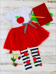 Girls Apple Applique Tutu Tunic with Bow & Striped Apple Print Leggings Set - Girls 1st Day of School