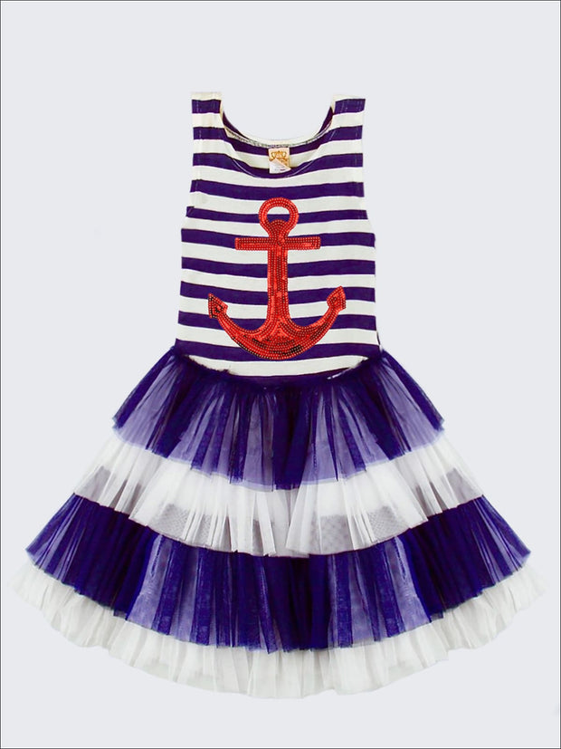 Girls Applique Striped Top Ruffled Tiered Tutu Dress - Girls Spring Casual Dress