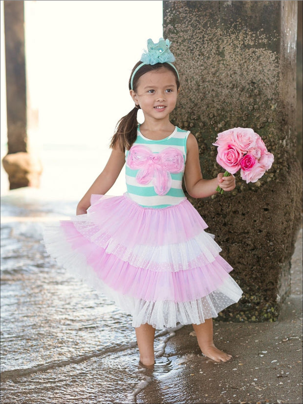 Girls Applique Striped Top Ruffled Tiered Tutu Dress - Pink / 2T/3T - Girls Spring Casual Dress